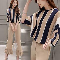 Ashlee - Set: Stripe 3/4 Sleeve Top + Pleated Boot Cut Pants