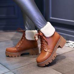 Pastel Pairs - Lace-Up Platform Short Boots