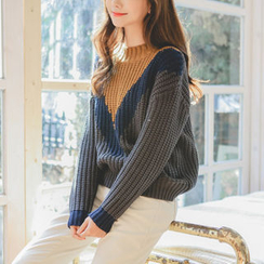 JUSTONE - Color-Block Chunky-Knit Sweater