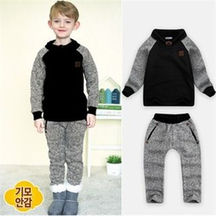 WALTON kids - Kids Set: Brushed-Fleece Color-Block Top + Pants