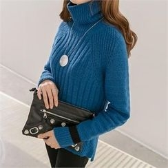 PIPPIN - Turtle-Neck Contrast-Trim Rib-Knit Sweater