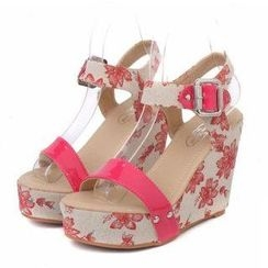 Mancienne - Printed Wedge Sandals