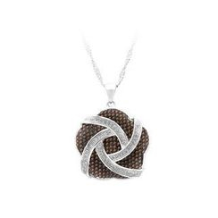 BELEC - 925 Sterling Silver Flower Pendant with White and Brown Cubic Zircon and Necklace