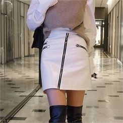 LIPHOP - Zip-Accent Faux-Leather Skirt