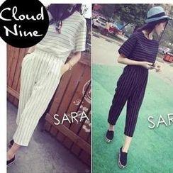 Cloud Nine - Set: Striped T-Shirt + Striped Straight-Leg Cropped Pants