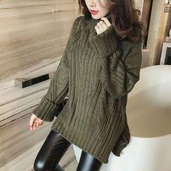 Little V - Turtleneck Ribbed Long Sweater