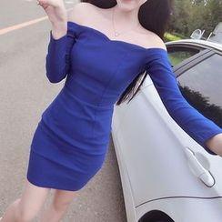 Queen Bee - 套裝: 露肩塑身連衣裙 + 頭帶