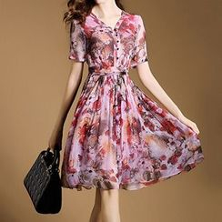 MIUCO - Floral Print Short Sleeve Pleated Midi Dress