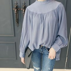DANI LOVE - Bishop-Sleeve Shirred Top