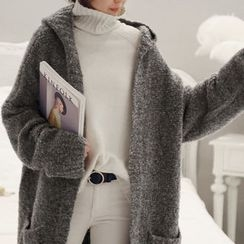 NANING9 - Hooded Open-Front Long Cardigan
