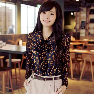 OrangeBear - Tie-Neck Dotted Chiffon Blouse