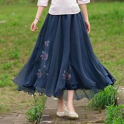 Diosa - Embroidered Maxi Skirt