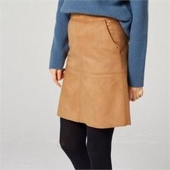 MAGJAY - Faux-Suede Zip-Back Skirt