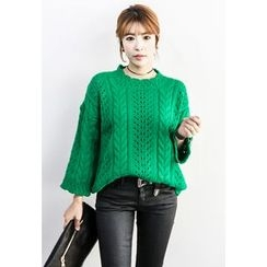 INSTYLEFIT - Pointelle Cable-Knit Sweater