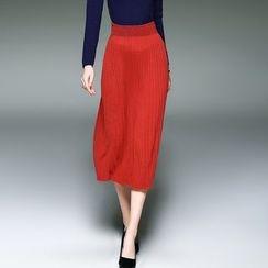 Blue Sky Butterfly - 羊毛混纺饰褶针织短裙