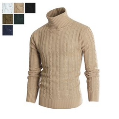 DANGOON - Turtle-Neck Colored Cable-Knit Top