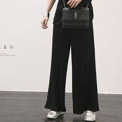 NANING9 - Ribbed Wide-Leg Pants