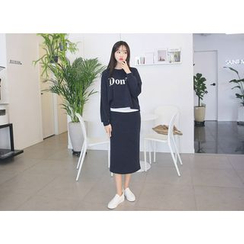 Envy Look - Set: Lettering T-Shirt + Long Skirt