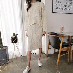 Hello sweety - Set: Dip-Back Cable-Knit Top + Cable-Knit Skirt
