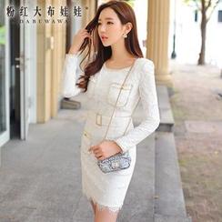 Dabuwawa - Long-Sleeve Pocket-Detail Lace Dress