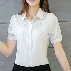 Eferu - Pintuck Short-Sleeve Chiffon Blouse
