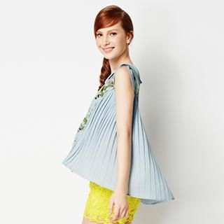 O.SA - Cap-Sleeve Pleated-Back Print Chiffon Blouse