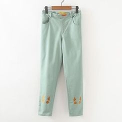 ninna nanna - Embroidered Cat Tapered Pants