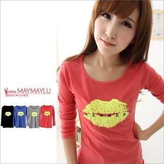 Maymaylu Dreams - Lip-Print Long-Sleeve T-Shirt