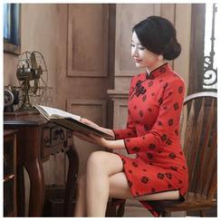 Janelle Qipao - 3/4-Sleeved Wool Qipao