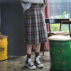 Dasim - Plaid Pleated Midi Skirt