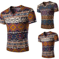 Fireon - Patterned V-Neck Short-Sleeve T-Shirt