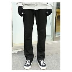 HOTBOOM - Brushed-Fleece Lined Straight-Cut Pants