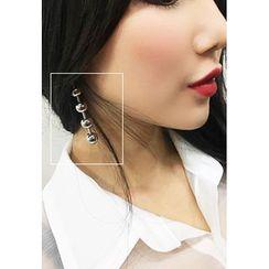 INSTYLEFIT - Asymmetric Tiered-Ball Drop Earrings