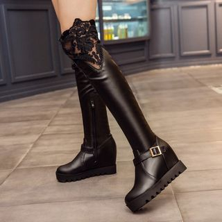 Pretty in Boots - Lace Panel Hidden Wedge Over-the Knee Boots