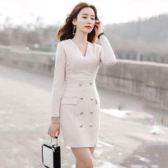 Lovi - Double-Breasted V-Neck Sheath Dress