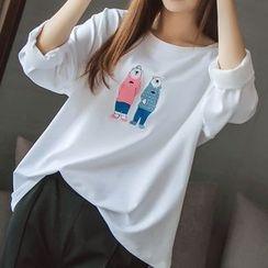 微米家 - 長袖刺繡T恤