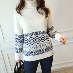 CLICK - Turtle-Neck Pattern Sweater