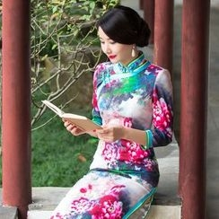 Miss Four Qipao - 3/4-Sleeve Patterned Cheongsam