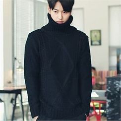 MITOSHOP - Turtle-Neck Wool Blend Sweater