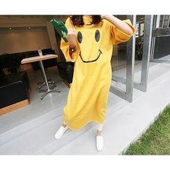 MARSHMALLOW - Brushed Fleece-Lined Smile-Print Maxi Dress