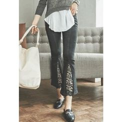 REDOPIN - Lace-Trim Boot-Cut Pants