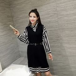 Eva Fashion - Set: Striped Shirtdress + Knit Tank Dress