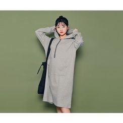 HOTPING - Zip-Detail Hooded Dress