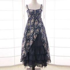 Reine - Strappy Patterned Tiered Midi Dress