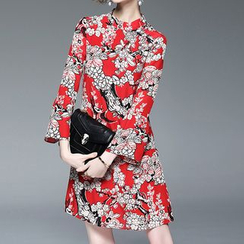 Alaroo - Long-Sleeve Floral A-line Dress