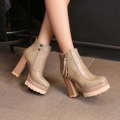 JY Shoes - Platform Stack Heel Ankle Boots