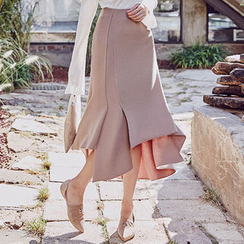 chuu - Asymmetric-Hem Long Skirt