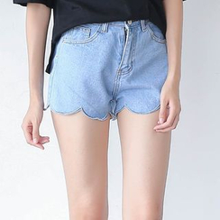 Sens Collection - Scallop Hem Denim Shorts