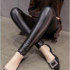 Clover Dream - Lace Trim Faux Leather Leggings