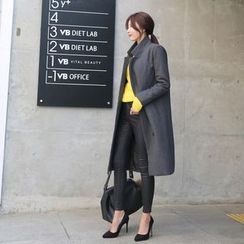 DABAGIRL - Notched-Lapel Double-Breasted Wool Blend Coat